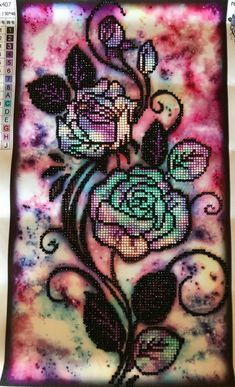 Finished Diamond Painting, Tie Dye Roses, Partial Mosaic, Round Rhinestones on Canvas by TheBlushinRose on Etsy Tie Dye Roses, Canvas Board, New Crafts, Rhinestones, Mosaic, It Is Finished, Diamond, Purple, Artwork