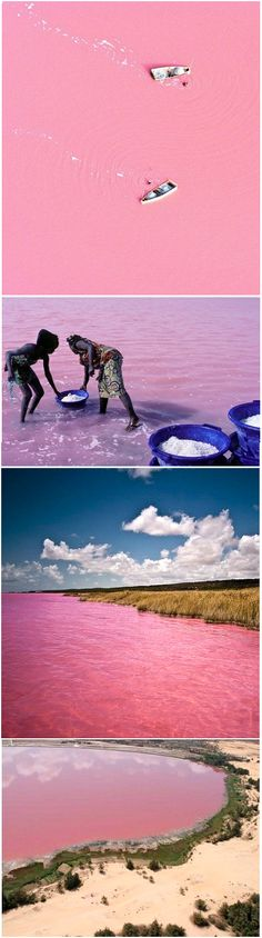 Senegal's Lake Retba, or as the French refer to it Lac Rose, is pinker than any milkshake. Experts say the lake gives off its pink hue due to cyanobacteria, a harmless halophilic bacteria found in the water. Lake Retba has a high salt content, much like that of the Dead Sea, allowing people to float effortlessly in the pink water. Toch een beetje vreemd...