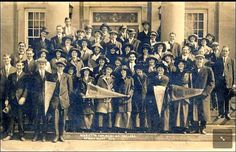 The 1914 Spring graduation class of Marietta Commercial College. They are standing on the steps of the First Congregational Church.