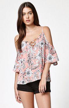Lace-Up Short Sleeve Cold Shoulder Top