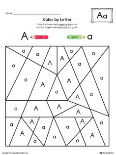 Uppercase Letter A Color-by-Letter Worksheet Worksheet.Fill your child's life…