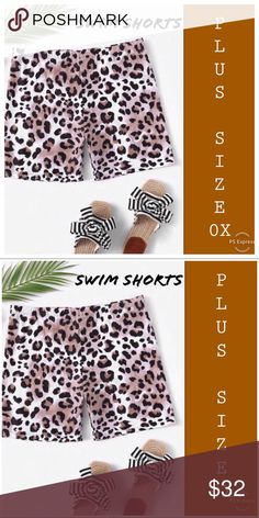 63853a1a46f PLUS SIZE LEOPARD PRINT SWIM SHORTS Super cute wear them with any top Waist  Size