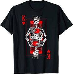 Amazon.com: Bangin' Chains Disc Golf Gothic King Of Hearts Skull Card T-Shirt: Clothing Cool Tees, Cool T Shirts, Branded T Shirts, Printed Shirts, Dark Fashion, Mens Fashion, Hearts Playing Cards, Gothic Shirts, Skull Shirts