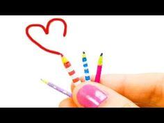 Miniature doll pencil & crayons (really write) tutorial - School supplies - Dollhouse DIY - YouTube