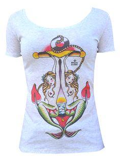 Retroaugogo - Womens T-shirt Tattoo Rockabilly Kustom Kulture Black Market Art Two Mermaids, $35.00 (http://www.retroaugogo.com.au/womens-t-shirt-tattoo-rockabilly-kustom-kulture-black-market-art-two-mermaids/)