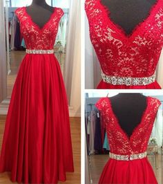 Image of 2015 Red V Neck Evening Gown With Lace Bodice