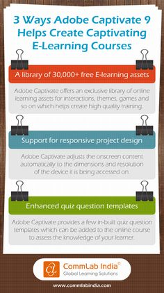 Adobe captivate presenter video express and presenter examples here is an infographic that shares 3 features of adobe captivate 9 that help you design captivating elearning courses fandeluxe Image collections