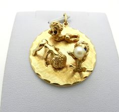 RUSER UNSIGNED 14k Yellow Gold 3 kid's playing Round Charm Pendant CIRCA 60's #Ruser #Pendant