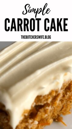 Yummy Carrot Cake is easy to make! It is simple but delicious! A moist carrot cake with a sweet and creamy cream cheese frosting! Carrot Cake Bars, Moist Carrot Cakes, Best Carrot Cake, Easy Cake Recipes, Frosting Recipes, Dessert Recipes, Banana Recipes, Poke Cakes, Layer Cakes