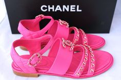 1d2761c1d6e8 Chanel Strap Chain Hot Fuchsia Flats Flat 37.5 Pink Sandals. Get the  must-have