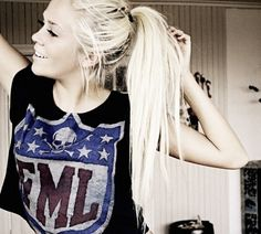 Long hair don't care hipster indie tumblr girl pony tail football
