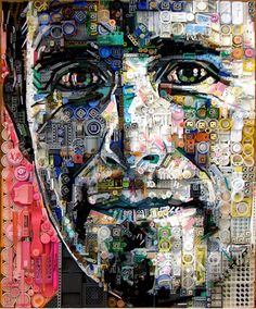 Amazingly detailed Portraits formed from Leftover Trash One of the prettiest #recycle #art I have seen