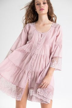 fine cotton and lace shirtdress in dusty pink. – Miss Rose Sister Violet