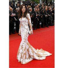 2014 Najwa Karam White Lace Celebrity Inspired Dresses Plus Size Evening Gowns With Sleeves vestidos de celebridades longos