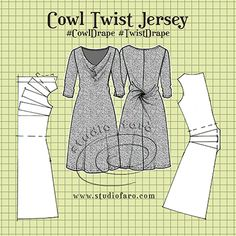 Fundamentals - Cowl Twist Jersey (well-suited) How to draft this cowl twist dress pattern using a knit block sloper.How to draft this cowl twist dress pattern using a knit block sloper. Pattern Cutting, Pattern Making, Sewing Clothes, Diy Clothes, Drape Dress Pattern, Clothing Patterns, Sewing Patterns, Knitting Patterns, Knitting Blocking