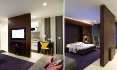 Com 50 m², esse apartamento precisava ter um quarto confortável para o homem solteiro que ali vive e uma sala também confortável. Para isso, a arquiteta Regina Adorno optou por um cômodo que se transforma. De dia, é uma sala, com a TV virada para ela. À noite, o móvel da televisão gira, voltando-se para a cama que estava elevada em um móvel. Atrás dele, foi feito um closet