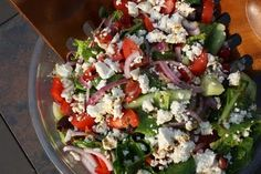 Forks Knives & Spades: Greek Salad with homemade croutons