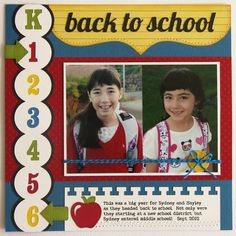 ~Love the simplicity and the arrows marking what grades they're starting.~ #backtoschoollayouts Back To School Layout by Mendi, Lori Whitlock team