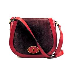 Fossil Vintage Reissue VRI Cranberry Leather Calf Hair Crossbody Flap Red Bag #Fossil #MessengerCrossBody