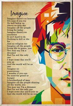 The Beatles John Lennon Imagine Lyrics Portrait No Framed X Sean Lennon, John Lennon Quotes, John Lennon And Yoko, John Lennon Beatles, Beatles Songs, Les Beatles, Beatles Guitar, Great Song Lyrics, Music Lyrics