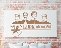 vinilos para decorar barbería de gran formato. Decorar paredes de una barbería con vinilos adhesivos