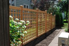 55 Lattice Fence Design Ideas (Pictures of Popular Types) - Modern Design backyard design diy ideas Wooden Trellis, Trellis Fence, Diy Trellis, Lattice Fence, Lattice Screen, Trellis Ideas, Lattice Wall, Backyard Fences, Garden Fencing