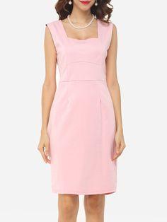 Plain Zips Captivating Square Neck Bodycon Dress #BodyconDresses, #Dresses, #Fashion, #Womens