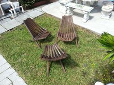 Vintage Mid Century Danish Modern Folding Slat Wood Deck Lounge Chairs 3 pieces!