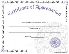 An Ornate Certificate Of Appreciation With A Large Lavender Graphic. Free  To Download And Print  Free Appreciation Certificate Templates