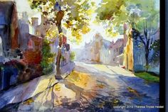 Golden Light, Stow-on-the-Wold, UK, watercolor and gouache by Theresa Elizabeth Troise Heidel Watercolor City, Watercolor Landscape, Abstract Landscape, Watercolour Painting, Landscape Paintings, Watercolours, Urban Painting, City Landscape, Medium Art