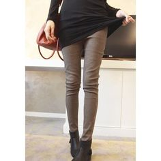 Morden Style Elastic Slimming Warm Thicken Cotton Blend Women's Checked Winters Leggings