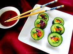 Kid Friendly 'Raw' Cucumber Sushi - from Canned-Time.com  a delicious, fresh veggie version with so many variations #appetizers #rawfoods #rawpartyfoods #kidfriendlyappetizers #partyfoods #healthypartyfare #vegansushi #rawsushi