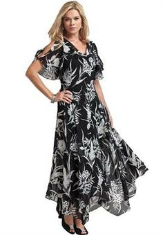 Fit and Flare Beaded Floral Hanky-Hem Gown   Plus Size Work Dresses   OneStopPlus