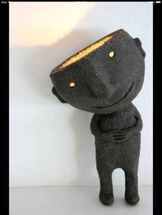 ceramic sculpture - is he a lamp. Sculptures Céramiques, Sculpture Art, Ceramic Sculptures, Ceramic Clay, Ceramic Pottery, Porcelain Ceramic, Slab Pottery, Pottery Wheel, Pottery Vase