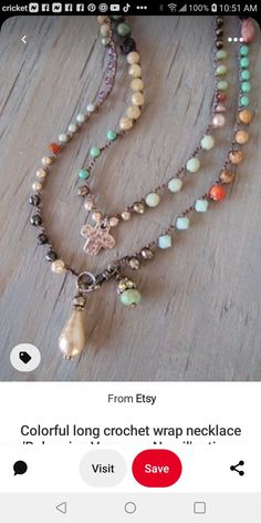 Crochet Beaded Necklace, Jewelry, Fashion, Moda, Jewlery, Jewerly, Fashion Styles, Schmuck, Jewels
