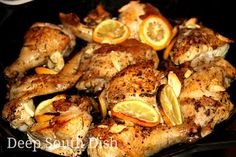Cast Iron Skillet Roasted Cut Up Chicken - a whole chicken, cut up, seared and roasted in a cast iron skillet with tarragon, thyme and fresh rosemary and lemon slices.