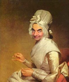 Who wears it better, Mr Bean or Mrs Richard Yates? By Gilbert Stuart. 11 Art Masterpieces Improved By Mr Bean National Gallery Of Art, Mr Bean Funny, Gilbert Stuart, Arte Dope, Famous Portraits, Caricature Artist, Classic Paintings, Paintings Famous, Portrait Paintings