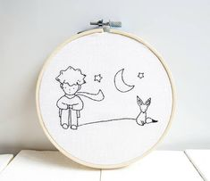 Little prince wall decor embroidery hoop art nursery wall