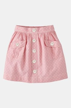 Free shipping and returns on Mini Boden 'Spotty' Chambray Skirt (Little Girls & Big Girls) at Nordstrom.com. A row of buttons dances down the placket of a cotton-spun shirt splashed in a speckled print.
