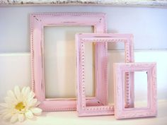 shabby chic frames pink frames distressed by NiftyandThriftyFinds. , via Etsy.