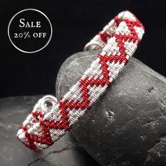 SALE - Wire Woven Zigzag Cuff Bracelet - Red & Silver £17.20