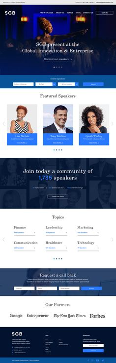This is a proposal project for SGB - a Speakers Bureau where Speakers can Sign up and have profiles that showcase their biographies and the topics they cover. It's also where Event planners can come and search for and hire speakers for their events. I designed 3 proposal pages – the Homepage, the Speakers Listings page and the Speakers page. Page Design, Web Design, Speakers Bureau, Site Inspiration, Event Planners, Event Page, Call Backs, Biographies, Proposal