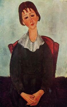 Amedeo Modigliani. Girl on a Chair (Mademoiselle Huguette), 1918