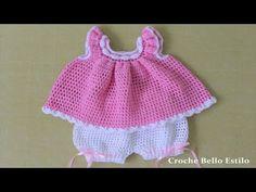 Crochet Crafts, Crochet Projects, Knit Crochet, Baby Dress Patterns, Crochet Patterns, Baby Girl Dresses, Girl Outfits, Short Bebe, Vestidos Bebe Crochet
