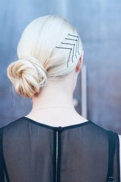 Messy bun and bobby pins