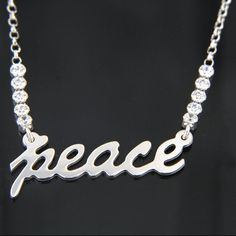 Valentine Special 925 Sterling Silver Round White CZ Peace Pendant w 16 034 Chain Bypass Ring, Valentine Special, Silver Rounds, Sterling Silver Chains, Peace, Diamond, Pendant, Cat, Jewelry