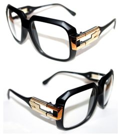 Vintage 623 Men's Hip Hop Clear Lens Eye Glasses Matte Black Gold Grandmaster  #Spexx #Square