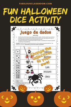 Could your Spanish students use a bit more practice with noun-adjective agreement and/or the verb Ser? Here's a simple, no-prep solution! This fun roll and write activity will get kids in the Halloween spirit while helping them practice. Spanish Teaching Resources, Spanish Activities, Learning Activities, Teacher Resources, Spanish Games, Spanish Lesson Plans, Spanish Lessons, Halloween Activities For Kids, Holiday Activities