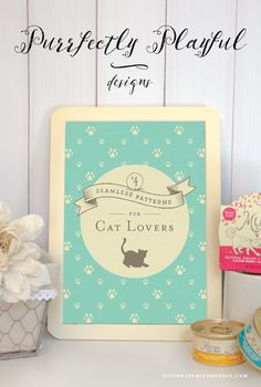 4 FREE Patterns for Cat Lovers - Designs By Miss Mandee. These purrfectly playful designs make great backgrounds, gallery prints, web patterns, or even wrapping paper. #MyCatMyMuse #ad