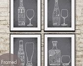 Red Wine, White Wine, Beer and Whiskey (Top Shelf Alcohol Series) Set of 4 8x10 Art Prints (Featured in Charcoal)